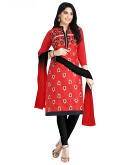 Ethnic Wear Red Cotton Salwar Suit  - KOMAL VOL 522005