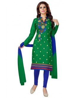 Festival Wear Green Cotton Salwar Suit  - KOMAL VOL 522007