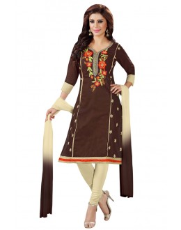 Office Wear Brown Cotton Salwar Suit  - KOMAL VOL 522009