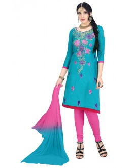 Office Wear Sky Blue Cotton Salwar Suit  - KOMAL VOL 522011