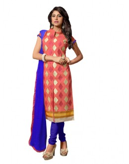 Eid Special Pink Cotton Chanderi Churidar Suit - RSK1006A