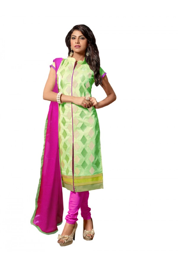 Eid Special Light Green Cotton Chanderi Churidar Suit - RSK1006C