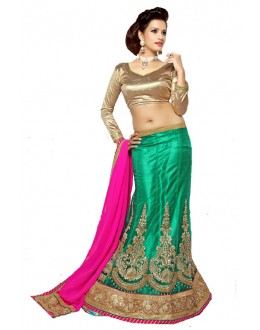 Traditional Green Viscose Lehenga Choli - Mastani1002