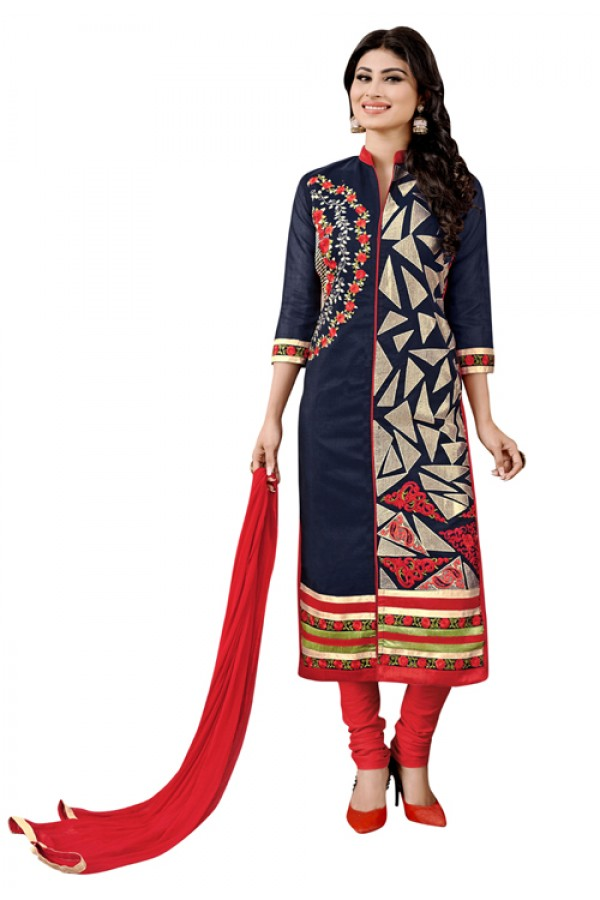 Mouni Roy Office Wear Blue & Red Salwar Suit - 1010
