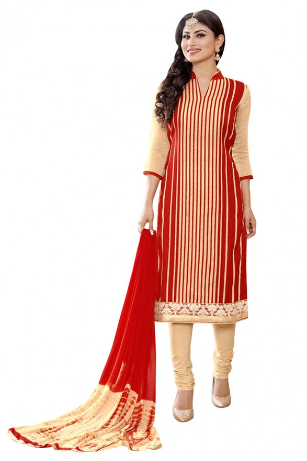 Mouni Roy Ethnic Wear Red & Beige Salwar Suit - 1011
