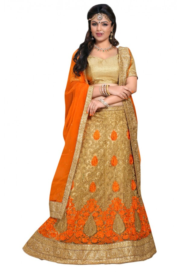 Bridal Beige & Orange Lehnega Choli - NAKASHTRA6307