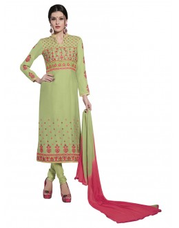 Light Green Cotton Embroidery Salwar Suit - NAGIN 221003