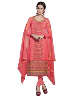 Cotton Peach Embroidery Salwar Suit - NAGIN 221004