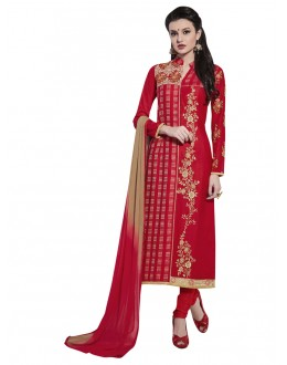 Cotton Red Embroidery Salwar Suit - NAGIN 221008