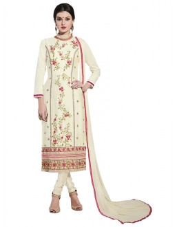 Festival Wear White Cotton Salwar Suit - NAGIN 221009