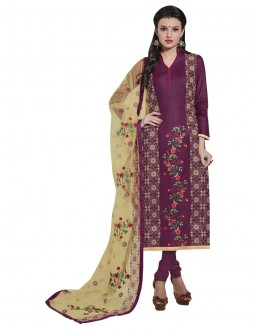 Office Wear Purple Cotton Salwar Suit - NAGIN 221010