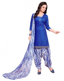 Office Wear Blue Polyster Cotton Patiyala Suit  - 4002