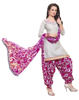 Office Wear Light Grey Polyster Cotton Patiyala Suit  - 4003