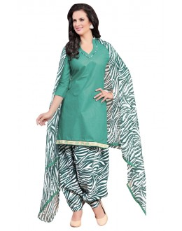 Casual Wear Green Polyster Cotton Patiyala Suit  - 4005
