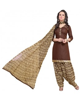 Office Wear Brown Polyster Cotton Patiyala Suit  - 4006