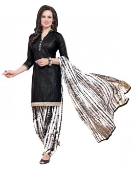 Ethnic Wear Black Polyster Cotton Patiyala Suit  - 4008