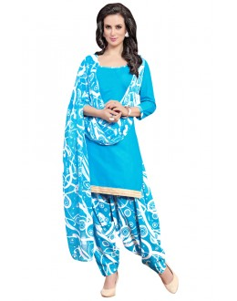 Office Wear Sky Blue Polyster Cotton Patiyala Suit  - 4009