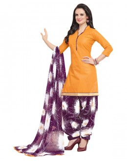 Ethnic Wear Orange Polyster Cotton Patiyala Suit  - 4012