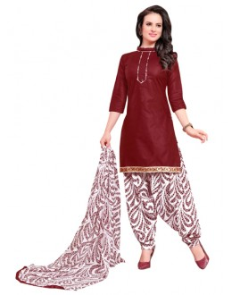 Office Wear Maroon Polyster Cotton Patiyala Suit  - 4016