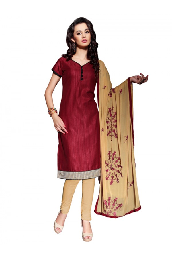 Party Wear Maroon Banglori Un-StitchedChuridar Suit -  PVT1012
