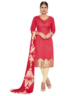 Casual Wear Red Banarasi Jacquard Salwar Suit  - PRISMA1006
