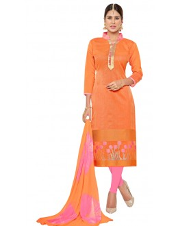 Casual Wear Orange Banarasi Jacquard Salwar Suit  - PRISMA1008
