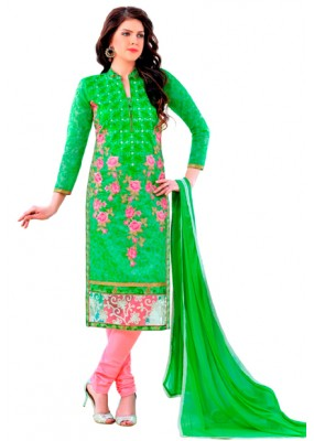 Ethnic Wear Green & Pink Salwar Suit  - QUEEN1351