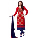 Office Wear Red & Blue Churidar Suit  - QUEEN1353
