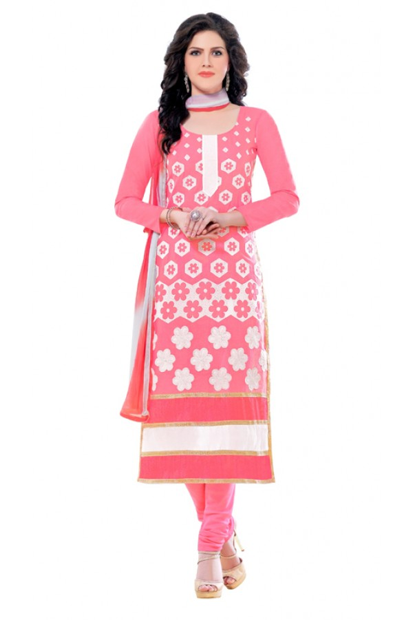 Office Wear Pink & White Churidar Suit  - QUEEN1358