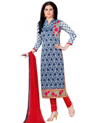 Ethnic Wear Blue & Red Salwar Suit  - QUEEN1360