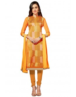 Casual Wear Yellow Glace Cotton Salwar Suit  - QUEEN 52101