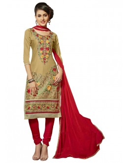 Festival Wear Beige Glace Cotton Salwar Suit  - QUEEN 52103