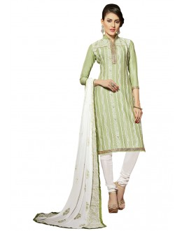 Office Wear Green Glace Cotton Salwar Suit  - QUEEN 52104