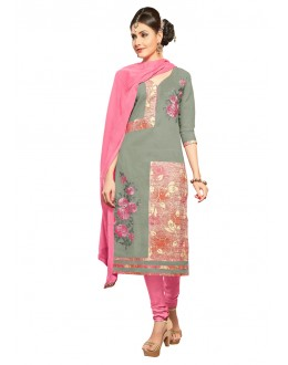 Office Wear Grey Glace Cotton Salwar Suit  - QUEEN 52105