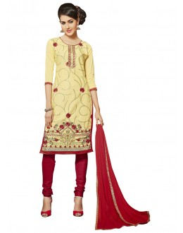 Casual Wear Beige Glace Cotton Salwar Suit  - QUEEN 52107