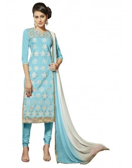 Glace Cotton Sky Blue Salwar Suit  - QUEEN 52111