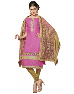 Ethnic Wear Pink Glace Cotton Salwar Suit  - QUEEN 52113