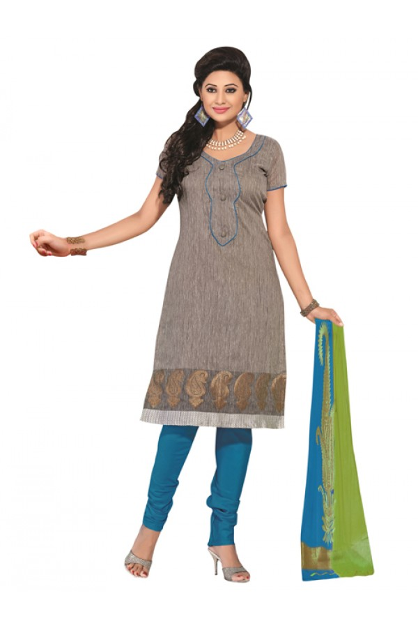 Party Wear Gray Un-Stitched Churidar Suit - RMZM1606