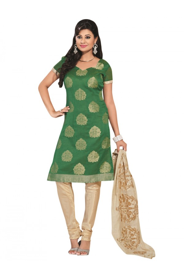 Party Wear Green Un-Stitched Churidar Suit - RMZM1610