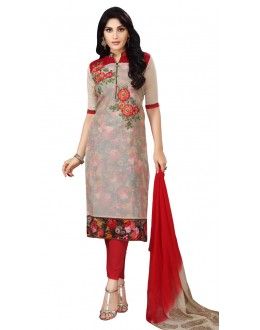 Office Wear Grey Chanderi Salwar Suit  - ROYAL QUEEN001