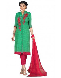 Ethnic Wear Green Chanderi Salwar Suit  - ROYAL QUEEN002