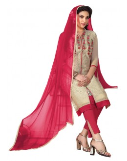 Office Wear Chickoo Chanderi Salwar Suit  - ROYAL QUEEN005