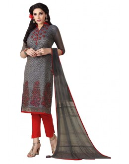 Ethnic Wear Grey Chanderi Salwar Suit  - ROYAL QUEEN006