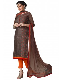 Office Wear Brown Chanderi Salwar Suit  - ROYAL QUEEN007