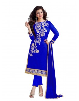 Chanderi Cotton Blue Churidar Suit - DREAM GIRL5307B