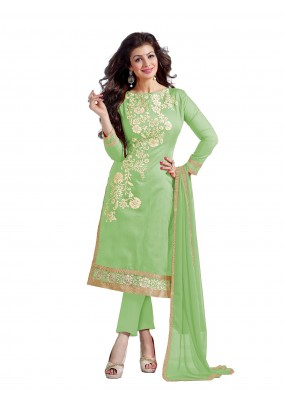 Chanderi Cotton Light Green Churidar Suit - DREAM GIRL5307H