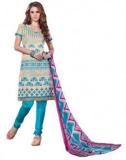 Casual Wear Chanderi Cotton Un-Stitched Churidar Suit - 5602
