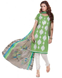 Casual Wear  Green Chanderi Cotton Un-Stitched Churidar Suit - 5606