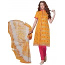 Casual Wear  Yellow Chanderi Cotton Un-Stitched Churidar Suit - 5612