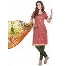 Casual Wear  Gajari Chanderi Cotton Un-Stitched Churidar Suit - 5613